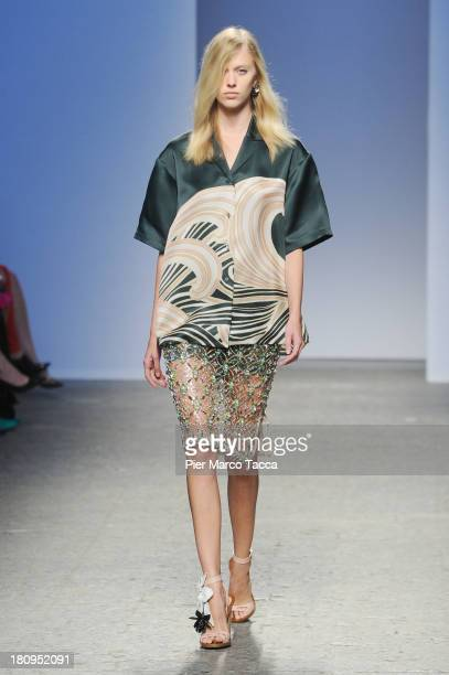 A model walks the runway during the N21 show as a part of Milan Fashion Week Womenswear Spring/Summer 2014 on September 18 2013 in Milan Italy