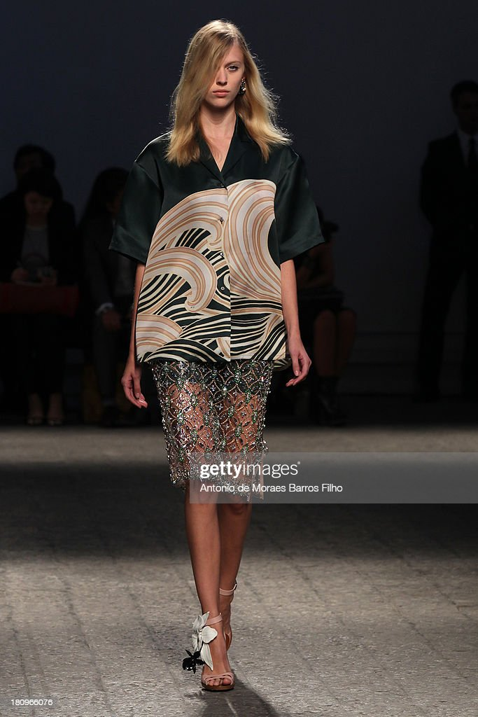 A model walks the runway during the N21 show as a part of Milan Fashion Week Womenswear Spring/Summer 2014 on September 18, 2013 in Milan, Italy.