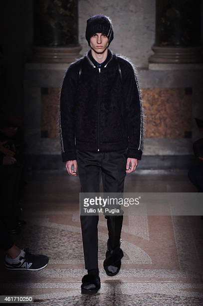 A model walks the runway during the N21 Show as a part of Milan Menswear Fashion Week Fall Winter 2015/2016 on January 18 2015 in Milan Italy