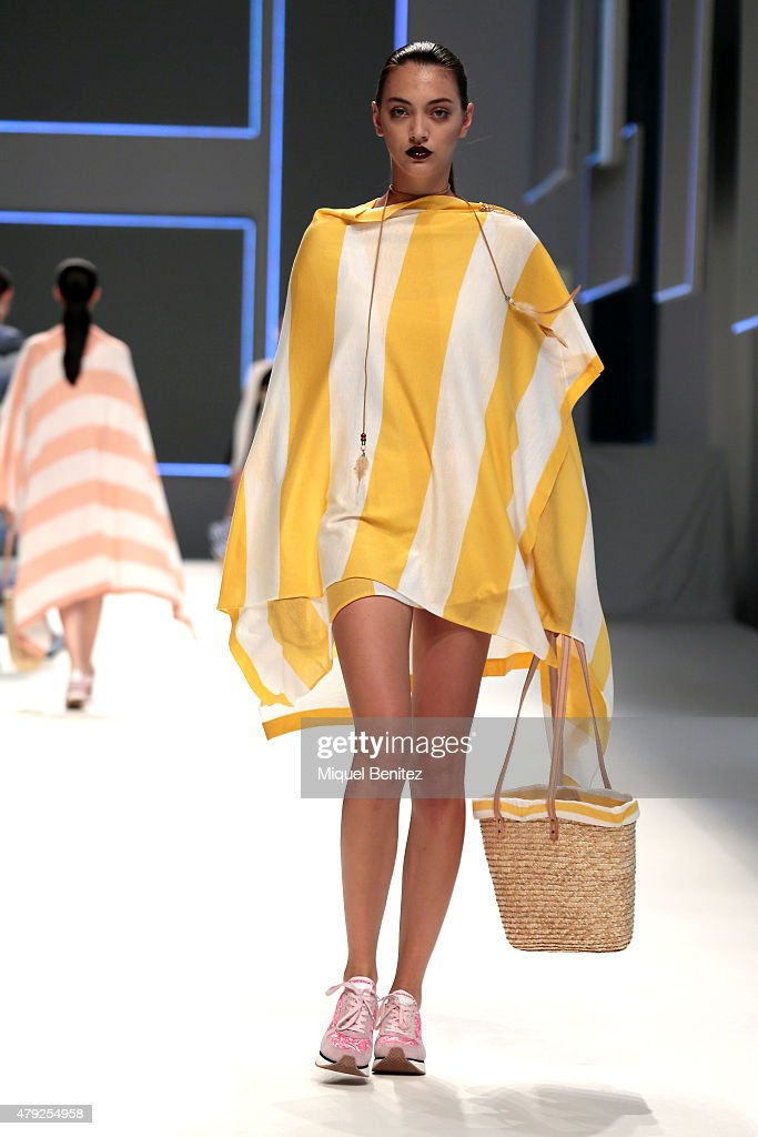 A model walks the runway during the Naulover fashion show as part of '080 Barcelona Fashion Autumn\Winter 2015-2016' at the Lluis Companys Olympic Stadium on July 2, 2015 in Barcelona, Spain.