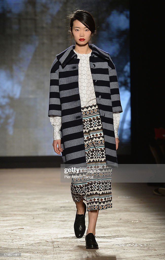 A model walks the runway during the New Upcoming Designers as a part of Milan Fashion Week Womenswear Autumn/Winter 2014 on February 24, 2014 in Milan, Italy.