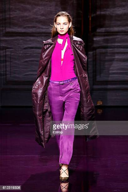 A model walks the runway during the Nina Ricci designed by Guillaume Henry show as part of the Paris Fashion Week Womenswear Spring/Summer 2017 on...