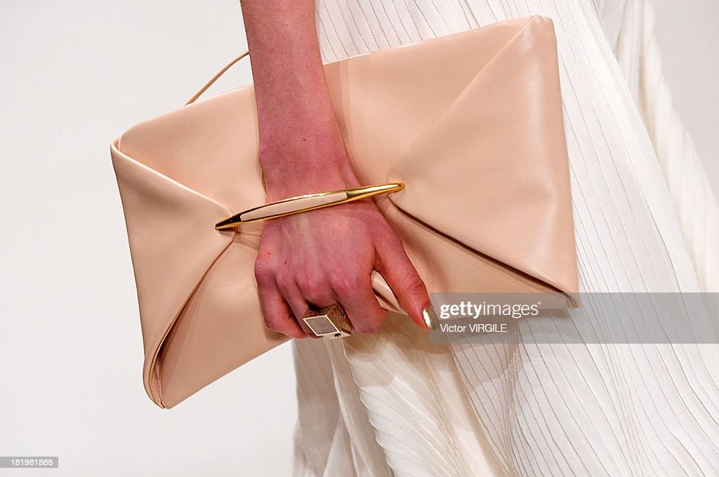A model (bag detail) walks the runway during the Nina Ricci show as part of Paris Fashion Week Womenswear Spring/Summer 2014 on September 26, 2013 in Paris, France.