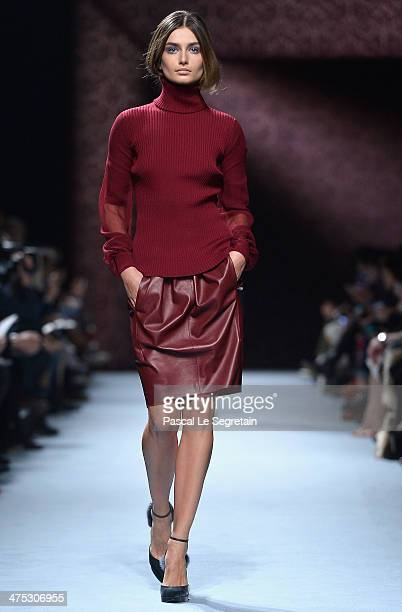 A model walks the runway during the Nina Ricci show as part of the Paris Fashion Week Womenswear Fall/Winter 20142015 on February 27 2014 in Paris...