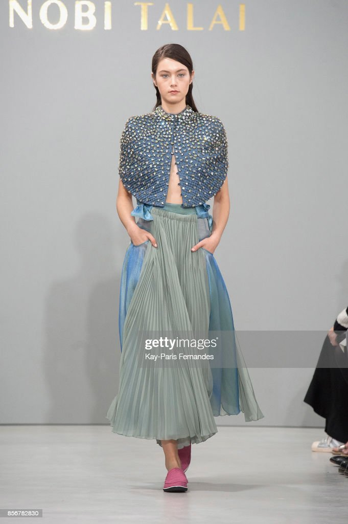 model-walks-the-runway-during-the-nobi-talai-paris-show-as-part-of-picture-id856782830