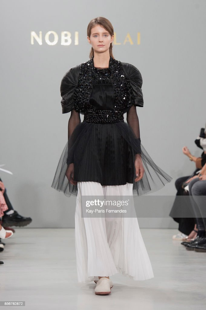 model-walks-the-runway-during-the-nobi-talai-paris-show-as-part-of-picture-id856782872
