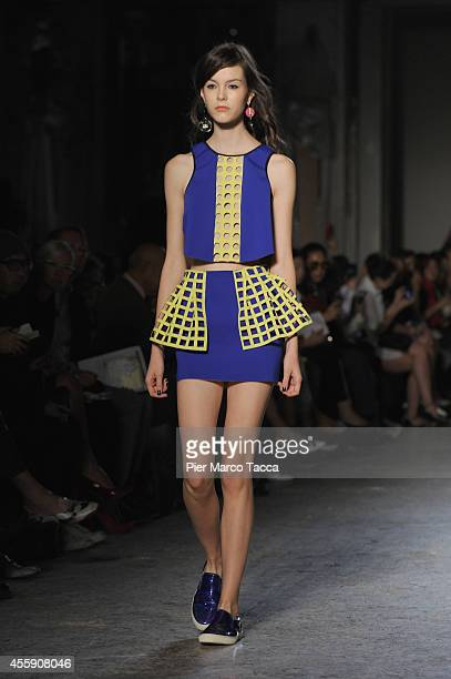 A model walks the runway during the NUDE New Upcoming Designers Leitmotiv as a part of the Milan Fashion Week Womenswear Spring/Summer 2015 on...