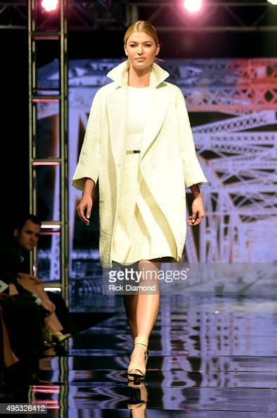 A model walks the runway during the Off The Record High End Fashion event on November 1 2015 in Nashville Tennessee Featuring national designers John...
