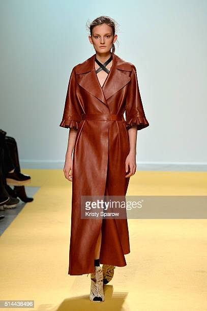 A model walks the runway during the OFF/White show as part of Paris Fashion Week Womenswear Fall/Winter 2016/2017 on March 8 2016 in Paris France