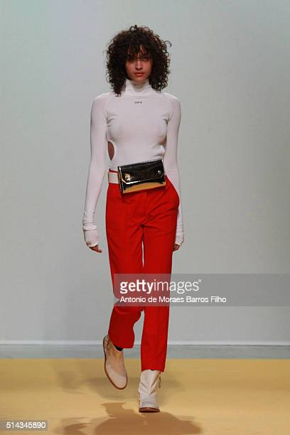 A model walks the runway during the Off/White show as part of the Paris Fashion Week Womenswear Fall/Winter 2016/2017 on March 8 2016 in Paris France
