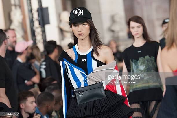 A model walks the runway during the OffWhite show as part of the Paris Fashion Week Womenswear Spring/Summer 2017 on September 29 2016 in Paris France
