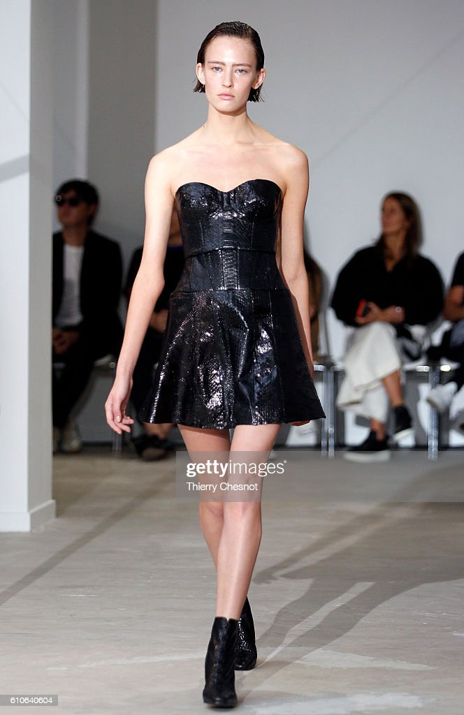 model-walks-the-runway-during-the-olivier-theysen-show-as-part-of-the-picture-id610640604