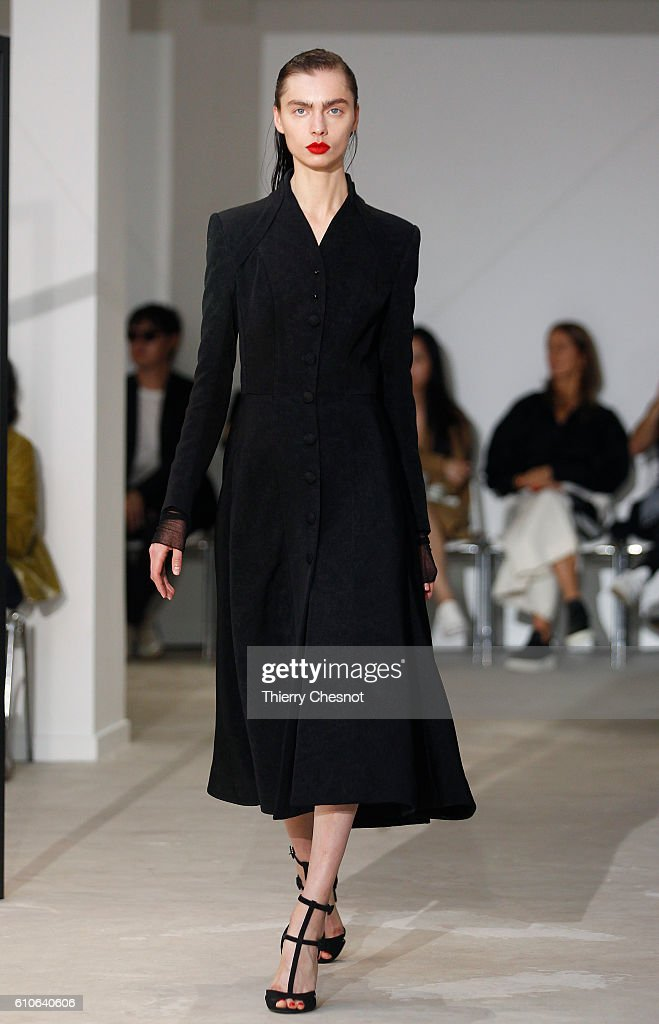 model-walks-the-runway-during-the-olivier-theysen-show-as-part-of-the-picture-id610640606
