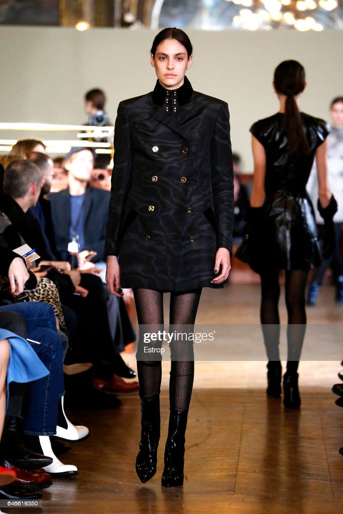 model-walks-the-runway-during-the-olivier-theyskens-show-as-part-of-picture-id646619350