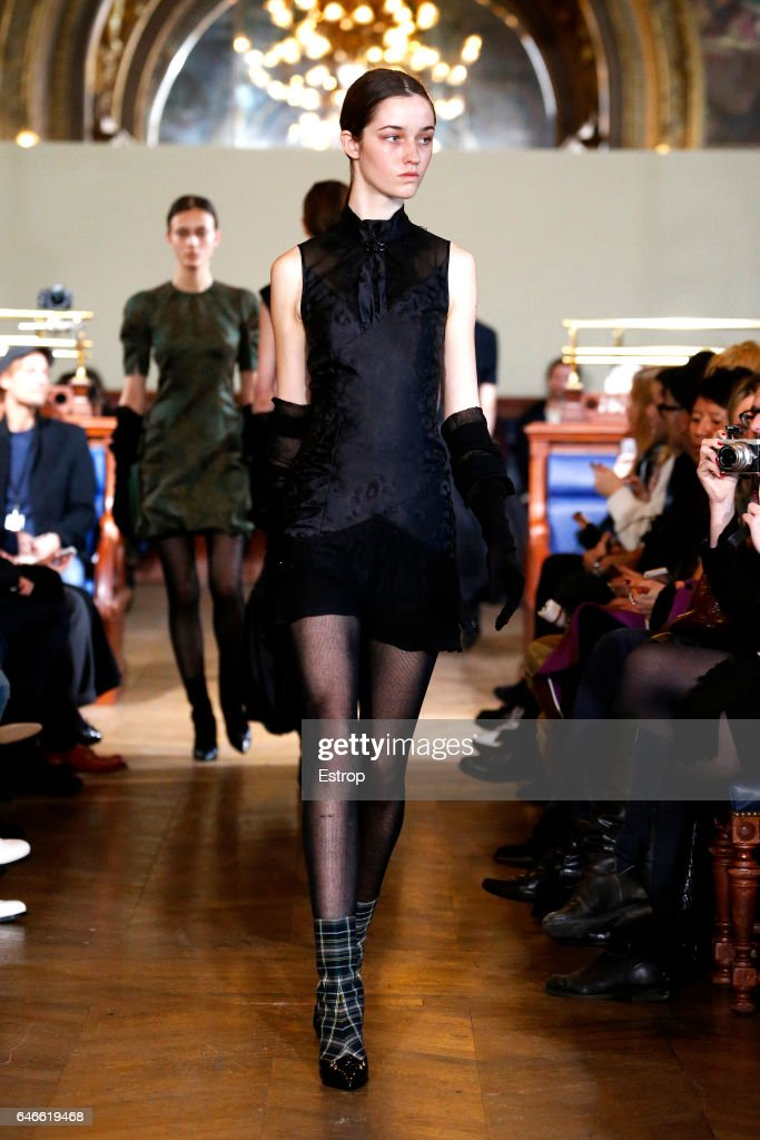 model-walks-the-runway-during-the-olivier-theyskens-show-as-part-of-picture-id646619468