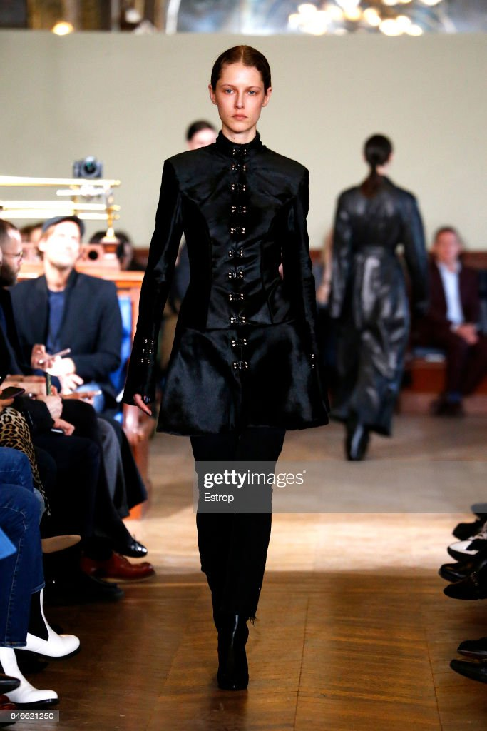 model-walks-the-runway-during-the-olivier-theyskens-show-as-part-of-picture-id646621250
