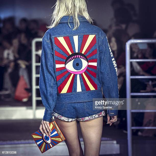 A model walks the runway during the Olympia Le Tan show as part of Paris Fashion Week Womenswear Spring/Summer 2017 on October 3 2016 in Paris France