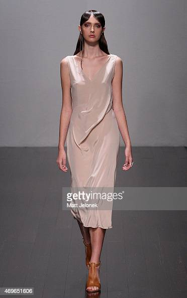 A model walks the runway during the One Fell Swoop show at MercedesBenz Fashion Week Australia 2015 at Carriageworks on April 14 2015 in Sydney...