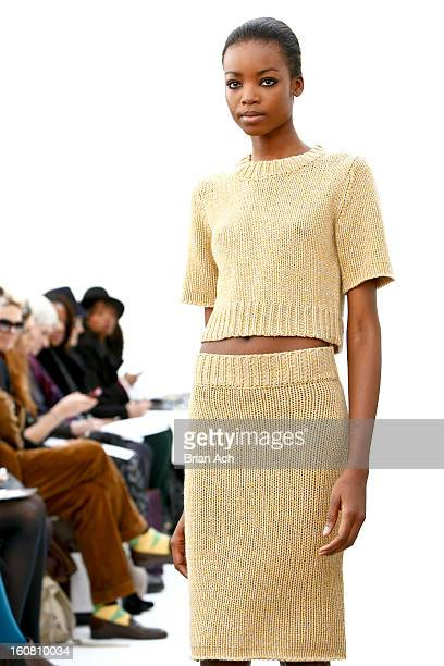 A model walks the runway during the Organic By John Patrick fall 2013 presentation during MercedesBenz Fashion Week on February 6 2013 in New York...
