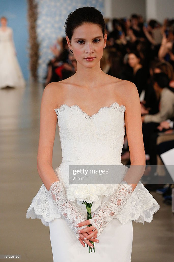 A model walks the runway during the Oscar de la Renta 2014 Bridal Spring/Summer collection show on April 22, 2013 in New York City.