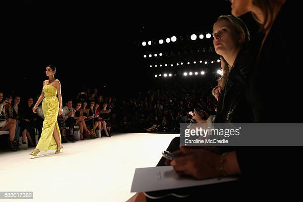 A model walks the runway during the Oscar de la Renta show presented by Etihad Airways at MercedesBenz Fashion Week Resort 17 Collections at...