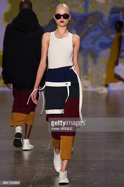 A model walks the runway during the Osklen fashion show at Sao Paulo Fashion Week Fall/Winter 2016 on October 22 2015 in Sao Paulo Brazil