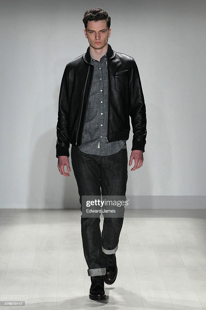 A model walks the runway during the Outclass fashion show during World Mastercard fashion week on March 19, 2014 in Toronto, Canada.