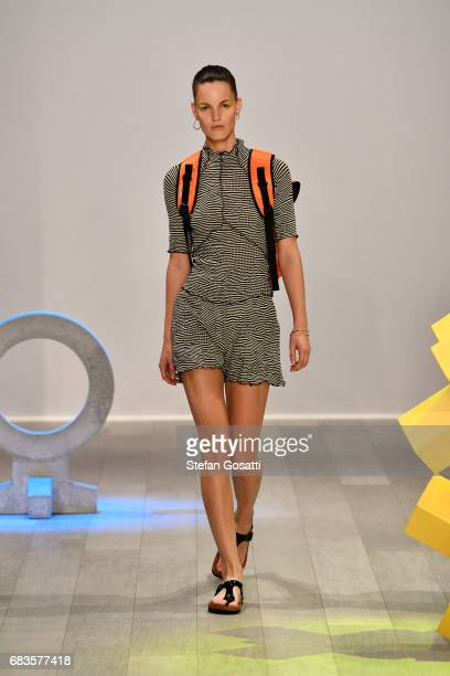A model walks the runway during the Pageant show at MercedesBenz Fashion Week Resort 18 Collections at Carriageworks on May 16 2017 in Sydney...