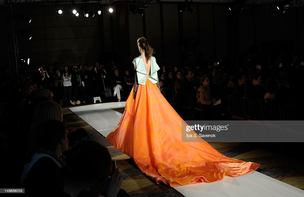 A model walks the runway during the Parsons 2012 Fashion show at Pier 60 on May 1 2012 in New York City