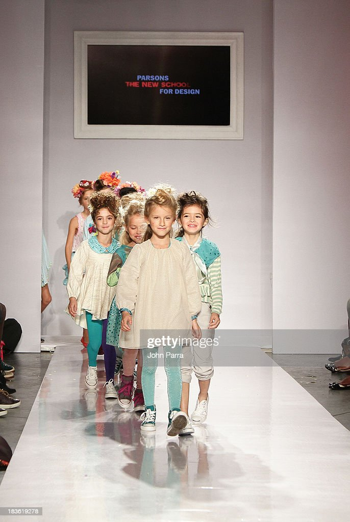 A model walks the runway during the Parsons The School For Design finale at petiteParade NY Kids Fashion Week in Collaboration with VOGUEbambini at Industria Superstudio on October 5, 2013 in New York City.