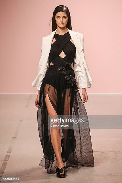 A model walks the runway during the Pascal Millet show as part of the Paris Fashion Week Womenswear Spring/Summer 2015 on September 23 2014 in Paris...