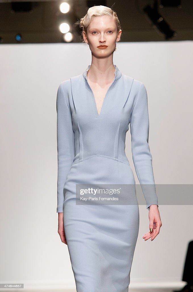 A model walks the runway during the Pascal Millet show as part of the Paris Fashion Week Womenswear Fall/Winter 2014-2015 on February 25, 2014 in Paris, France.