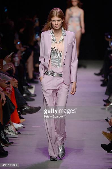 A model walks the runway during the Paul Joe show as part of Paris Fashion Week Womenswear Spring/Summer 2016 on October 6 2015 in Paris France