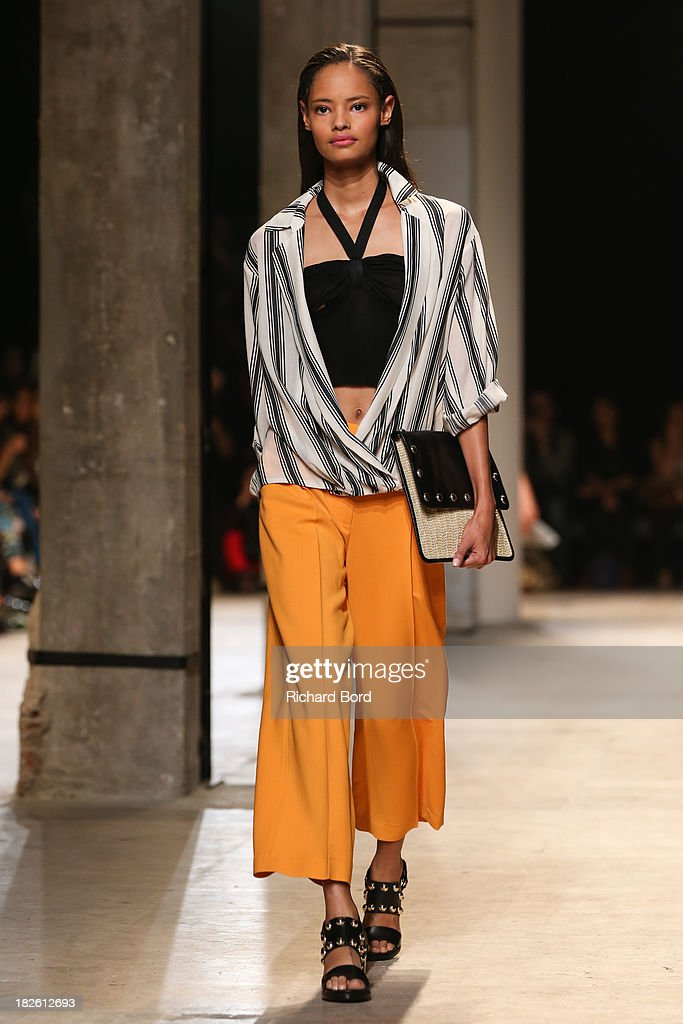 A model walks the runway during the Paul & Joe show as part of the Paris Fashion Week Womenswear Spring/Summer 2014 on October 1, 2013 in Paris, France.