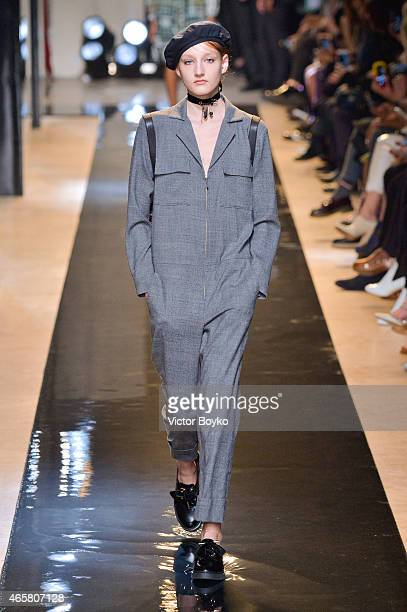 A model walks the runway during the Paul Joe show as part of the Paris Fashion Week Womenswear Fall/Winter 2015/2016 on March 10 2015 in Paris France