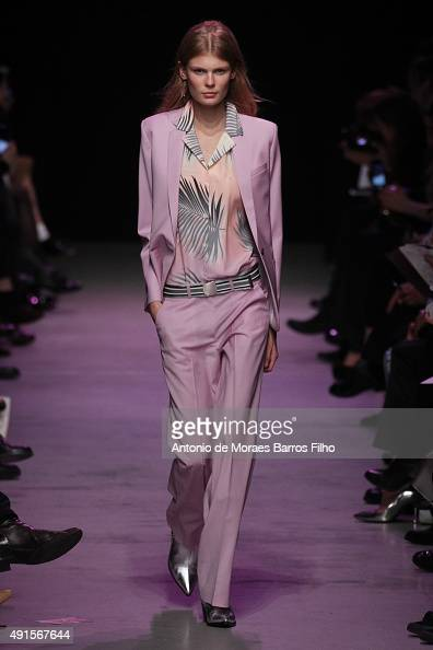 A model walks the runway during the Paul Joe show as part of the Paris Fashion Week Womenswear Spring/Summer 2016 on October 6 2015 in Paris France