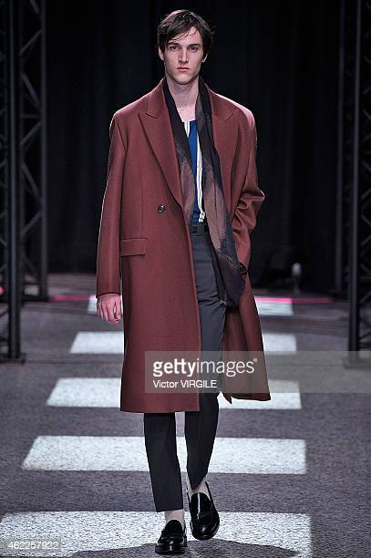 A model walks the runway during the Paul Smith Menswear Fall/Winter 20152016 show as part of Paris Fashion Week on January 25 2015 in Paris France
