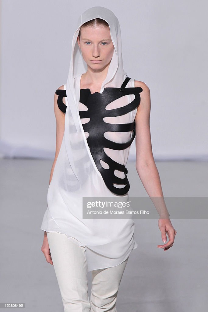 A model walks the runway during the Peachoo Krejberg Spring / Summer 2013 show as part of Paris Fashion Week at Espace Commines on September 26 2012...