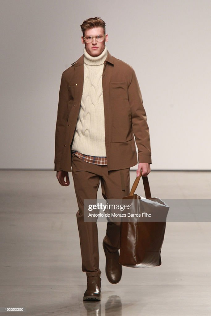 A model walks the runway during the Perry Ellis fall 2015 fashion show on February 12 2015 in New York City