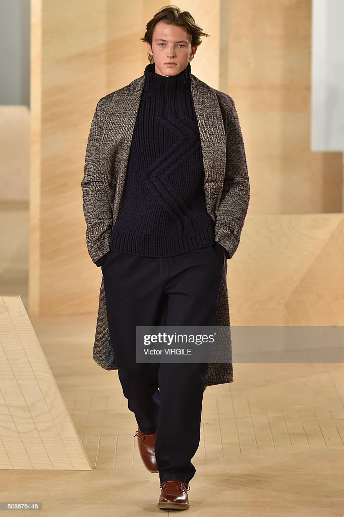 A model walks the runway during the Perry Ellis fashion show during New York Fashion Week Men's Fall/Winter 2016 on February 3, 2016 in New York City.