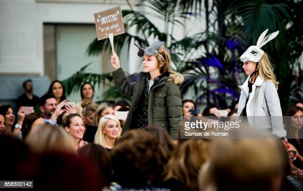Model walks the runway during 'The Petite Fashion Week' at the Cibeles Palace on October 6 2017 in Madrid Spain