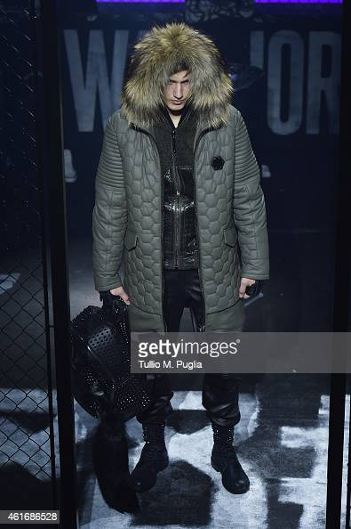 A model walks the runway during the Philipp Plein Show as a part of Milan Menswear Fashion Week Fall Winter 2015/2016 on January 17 2015 in Milan...