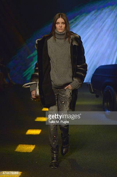 A model walks the runway during the Philipp Plein show as part of Milan Fashion Week Womenswear Autumn/Winter 2014 on February 23 2014 in Milan Italy