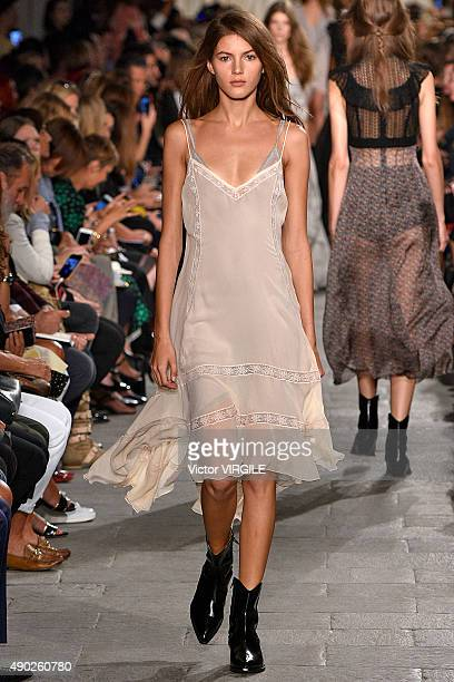A model walks the runway during the Philosophy di Lorenzo Serafini fashion show as part of Milan Fashion Week Spring/Summer 2016 on September 25 2015...