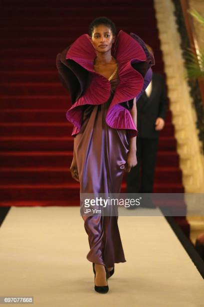 A model walks the runway during the Pierre Cardin 70 Years of Innovation fashion show at The Breakers on June 17 2017 in Newport Rhode Island