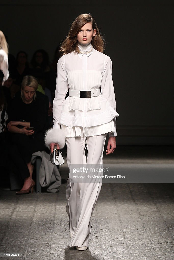 A model walks the runway during the Ports 1961 show as a part of Milan Fashion Week Womenswear Autumn/Winter 2014 on February 20, 2014 in Milan, Italy.