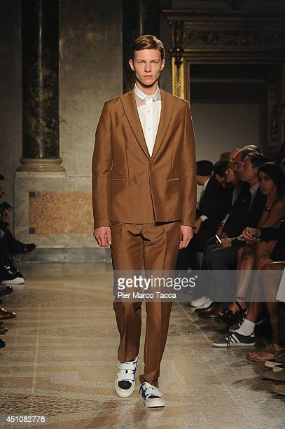 A model walks the runway during the Ports 1961 show as part of Milan Fashion Week Menswear Spring/Summer 2015 on June 23 2014 in Milan Italy