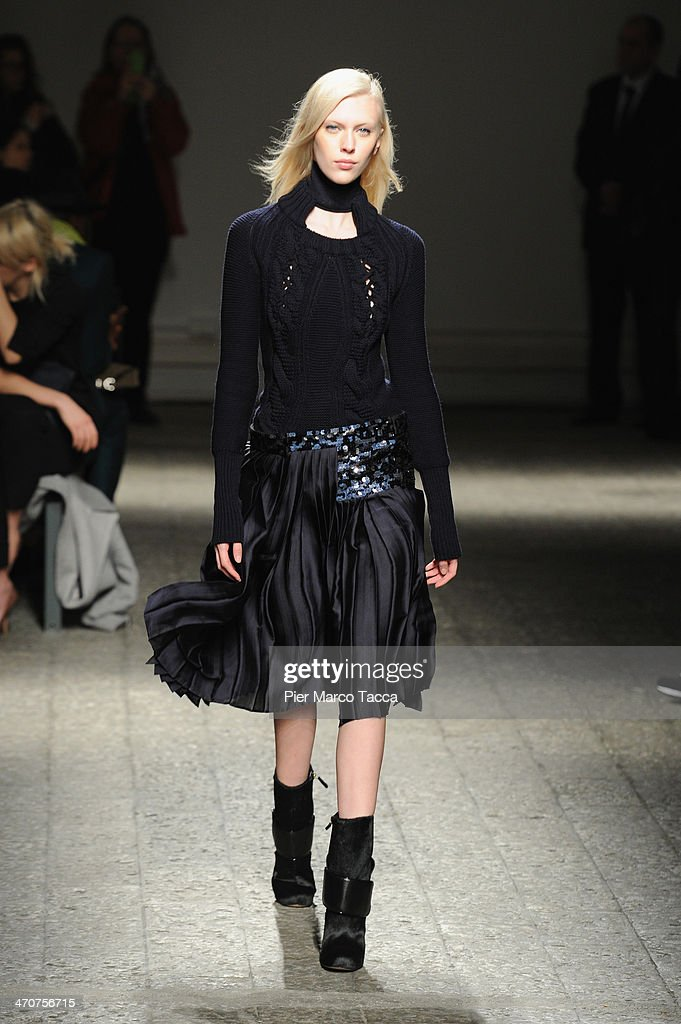 A model walks the runway during the Ports 1961 show as part of Milan Fashion Week Womenswear Autumn/Winter 2014 on February 20, 2014 in Milan, Italy.