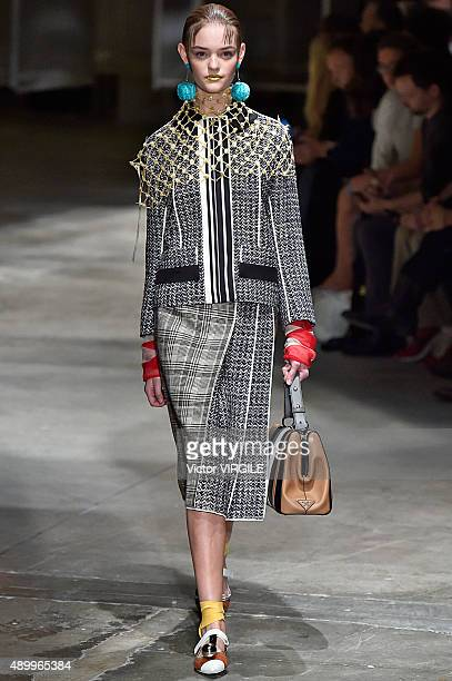 A model walks the runway during the Prada Ready to Wear fashion show as part of Milan Fashion Week Spring/Summer 2016 on September 24 2015 in Milan...
