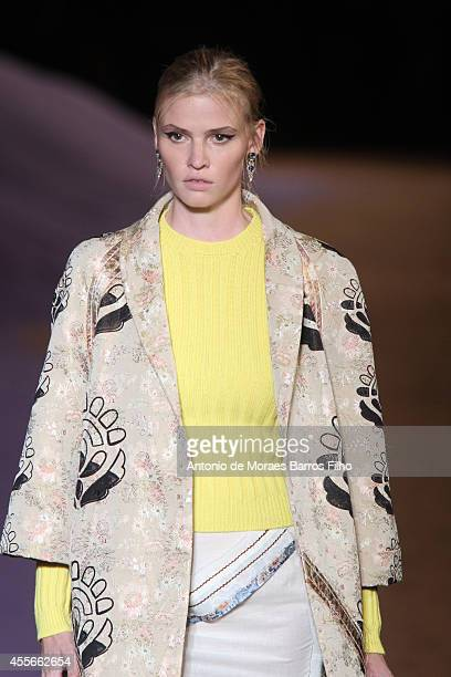 A model walks the runway during the Prada show as a part of Milan Fashion Week Womenswear Spring/Summer 2015 on September 18 2014 in Milan Italy